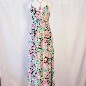 Yumi Kim Halter Top Open Back Floral Maxi Dress.